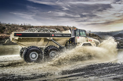 Terex truck in motion
