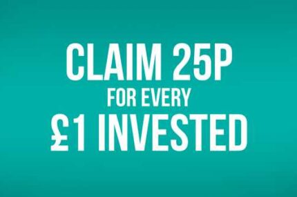Claim 25p for every £1 invested banner